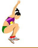 Woman athlete on the Long jump competition. Vector illustration