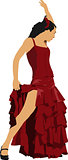 Beautiful young woman dancing flamenco isolated on white. Vector