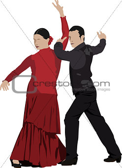 Beautiful young pair dancing flamenco isolated on white. Vector