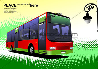City bus on abstract background. Coach. Vector illustration