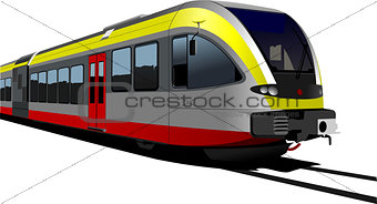 Gray-red-yellow modern speed bullet train. Fast suburban, subway