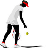 Woman tennis. Colored Vector illustration