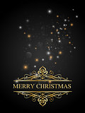Merry christmas postcard background tith gold and shine