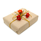 Gift box with paper red flowers