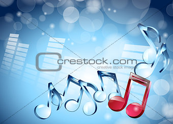 3D musical notes on shiny blue background