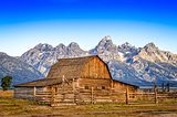 Landscape view of abandoned barn and mountain range, Grand Teton