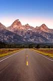 Scenic view of Grand Teton mountain range and road