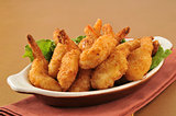 Deep fried butterfly shrimp