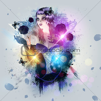 Abstract background with gothic girl