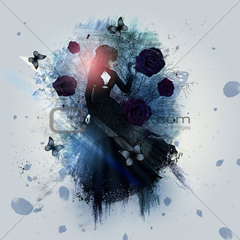 Abstract gothic woman background