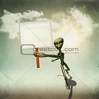 Alien with board