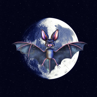 Bat over moon