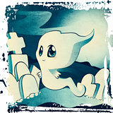 Cute ghost on cemetery
