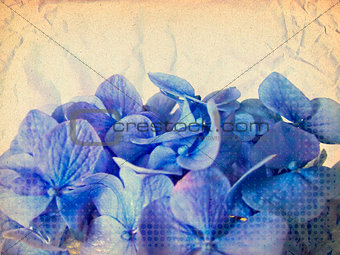 Grunge blue flowers