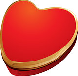 Red and Gold Heart Shape Gift Box