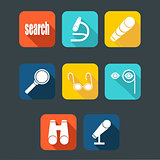 Search icon set, flat