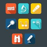 Search icon set, flat