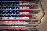 Dark brick wall with plaster - USA