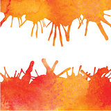 Orange watercolor paint vector background with blots