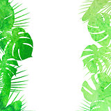 Watercolor tropical leaves