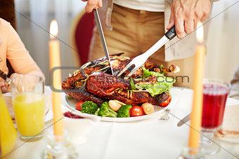Cutting festive dish