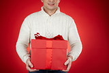 Man with red giftbox