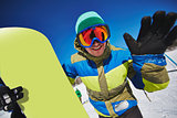 Happy snowboarder