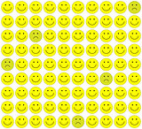 Seamless pattern with color smileys for textiles, interior design background.