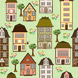 seamless pattern of houses art illustration vector