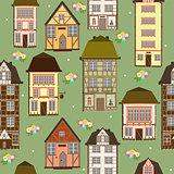 seamless pattern of houses art illustration vector
