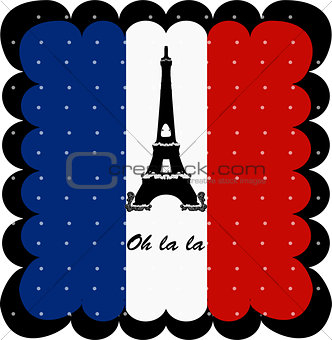 France flag and Eiffel Tower of Paris background art