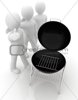 3d man with barbeque