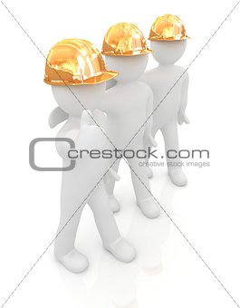 3d mans in a hard hat with thumb up
