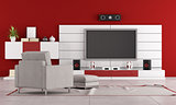 Red living room with TV