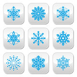 Snowflakes, winter blue vector buttons set