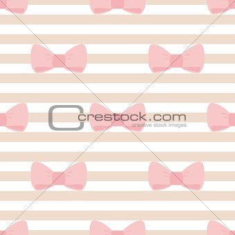 Tile vector pattern with pastel pink bows on brown and white stripes background.