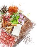 Watercolor Image Of  Cooking Ingredients