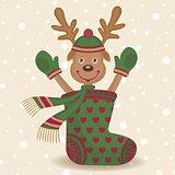 Cute reindeer and sock