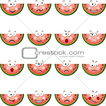 Watermelon slice with feature a different expression