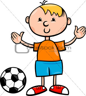 boy with ball cartoon illustration