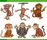 monkeys cartoon set illustration