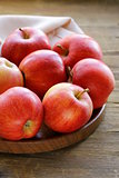 ripe red apples autumn harvest on a wooden table