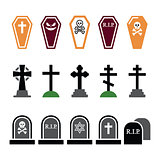 Halloween, graveyard colorful icons set - coffin, cross, grave