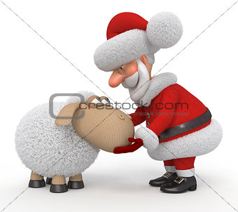 3d Santa Claus with a lamb