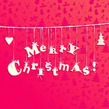 Christmas applique background. Garland of letters Merry Christma