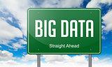 Big Data on Green Highway Signpost.