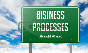 Business Processes on Green Highway Signpost.