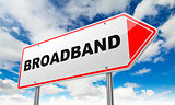 Broadband  on Red Road Sign.