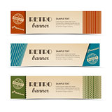 Retro horizontal banners with colored stripes
