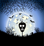 Halloween night background with house and tree